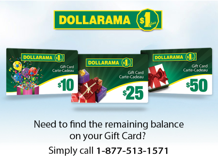 Need to find the remaining balance on your Gift Card ? Simply call 1-877-513-1571